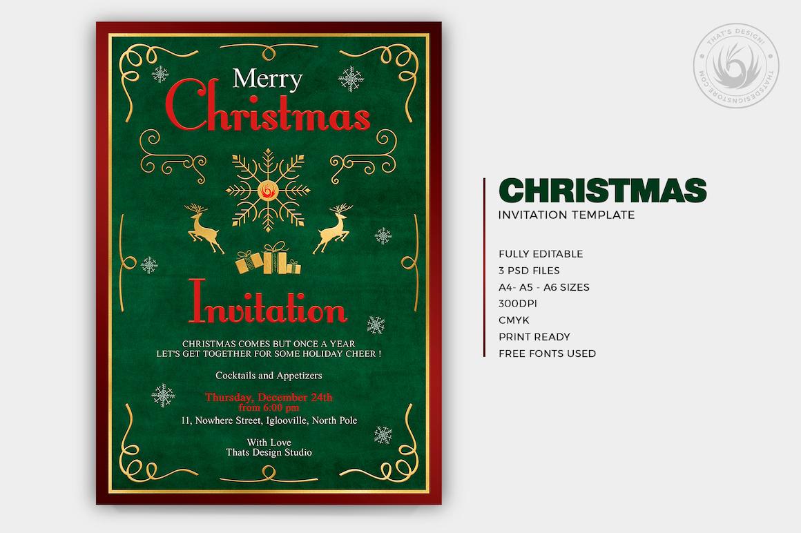 Christmas Invitation Template psd V.2