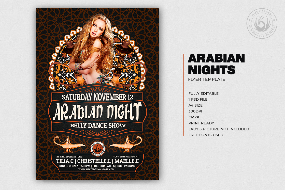Arabian Nights Flyer Template V2 for any Oriental party, Belly Dance show or courses, Shisha, Arabian Nights or Ramadan Event.