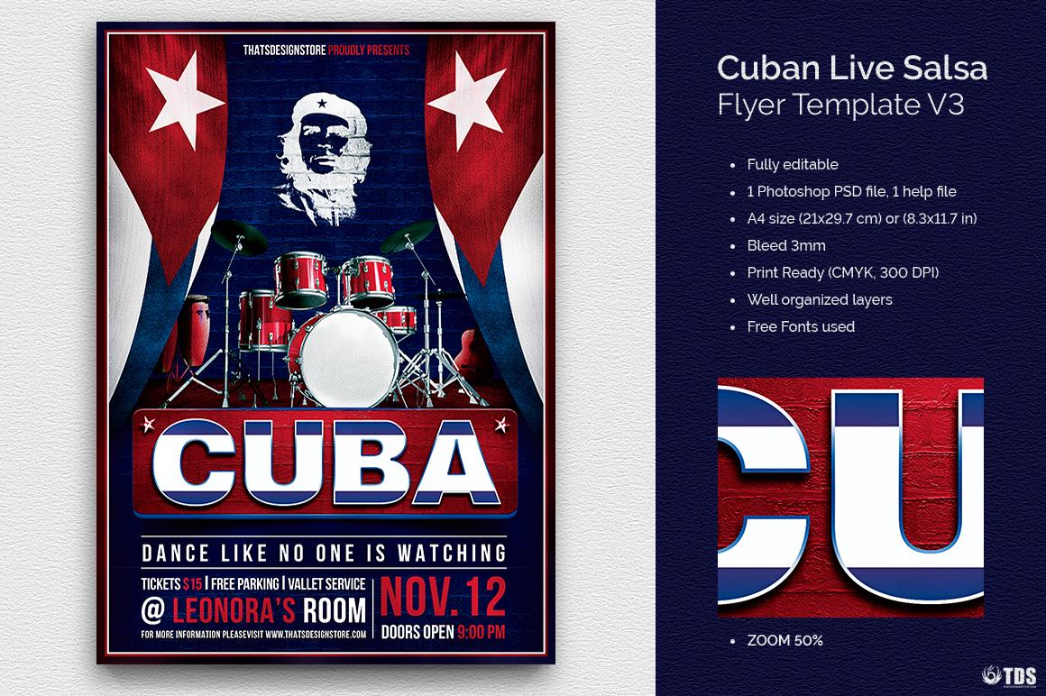 Cuban Live Salsa Flyer Template V3, Cuba latin salsa