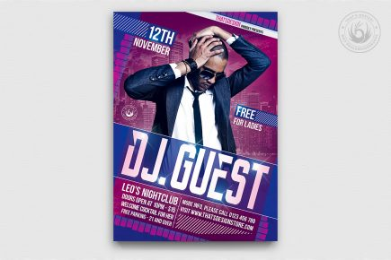 DJ guest flyer template psd for Clubbing or Electro Party, Dubstep, Alternative, Trance, House music event...