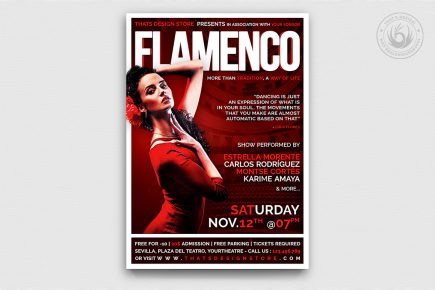 Flamenco Flyer Template Psd for photoshop V1, spanish party