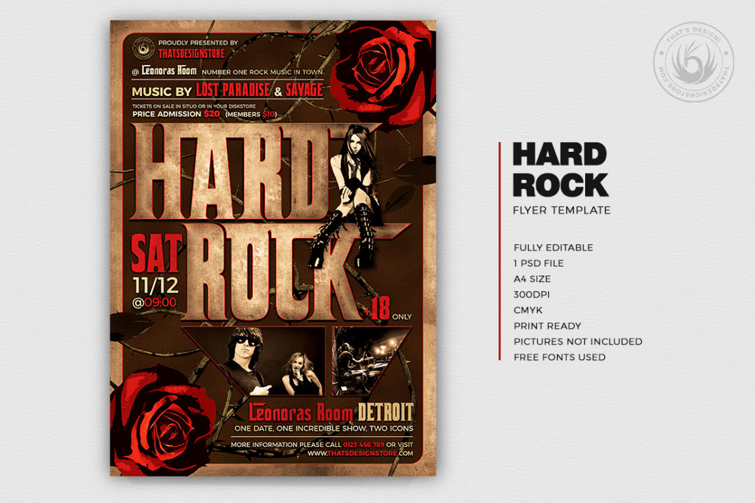 Hard Rock Flyer Template
