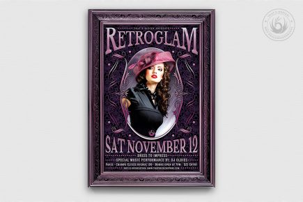 Retro Flyer Psd Templates, Vintage, Glamorous party, Retro Ladies Night, Baroque Afterwork, a charleston themed party