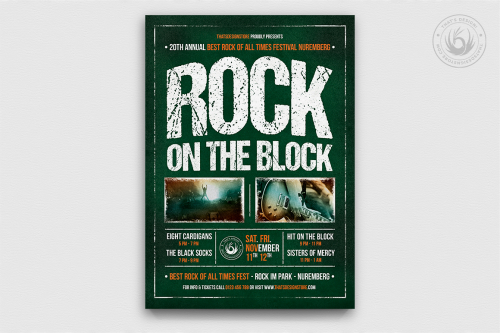 Rock Festival Flyer Template psd download for photoshop, Live band poster promotion