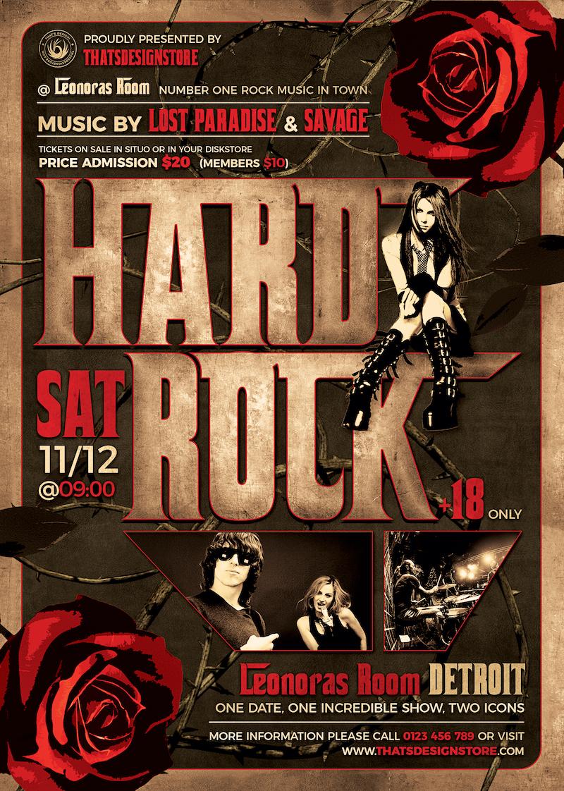 Hard Rock Flyer Template psd download design