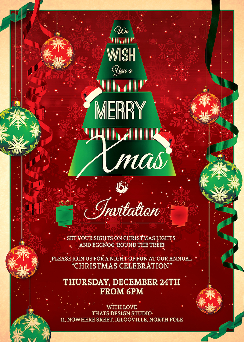 Christmas Invitation Template psd V.7