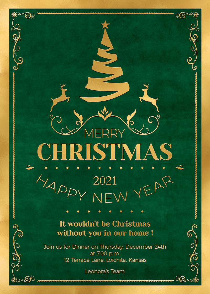 Christmas Invitation Template PSD Design editable with photoshop. Green and Gold Flyer poster