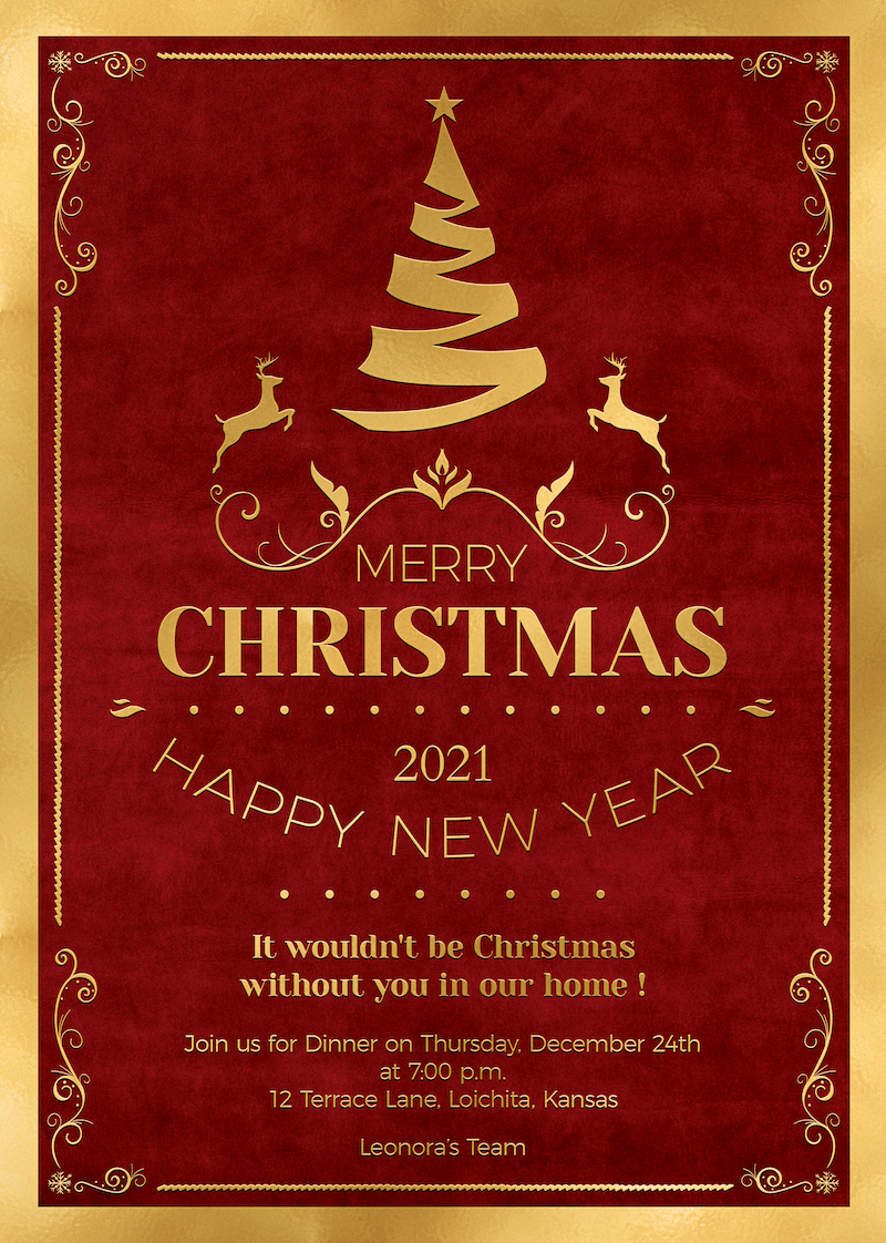 Christmas Invitation Template PSD Design editable with photoshop. Red and Gold Flyer poster