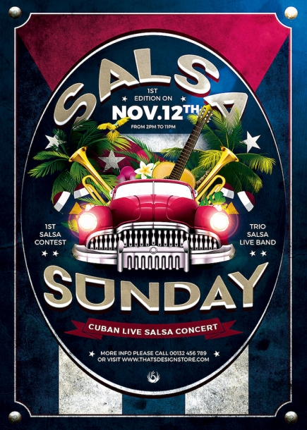 Cuban Live Salsa Flyer Template PSD Design for Photoshop V.2
