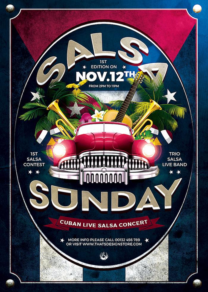 cuban live salsa flyer templates psd design for photoshop v 2