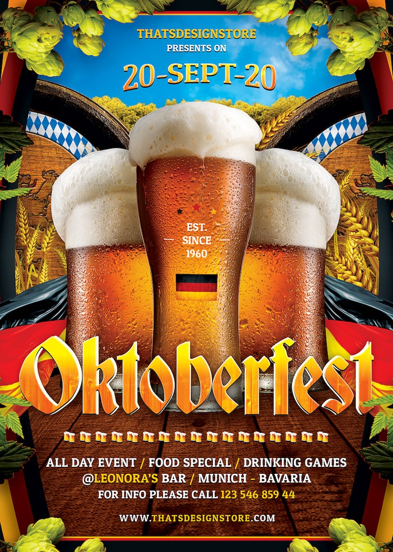 Beer Party Oktoberfest Flyer Template V.7