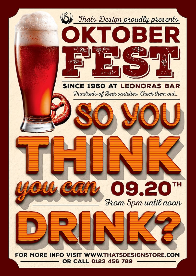 Beer Party Oktoberfest Flyer psd Template design download