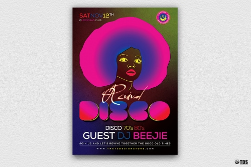 Disco Revival Flyer Template PSD download V2 saturday night fever, Remember, flower power, 70's, 80's, 90's, Neon