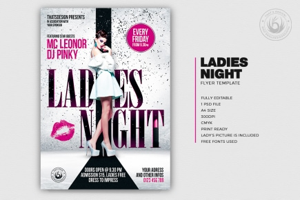 Ladies Night Flyer Poster Template psd download
