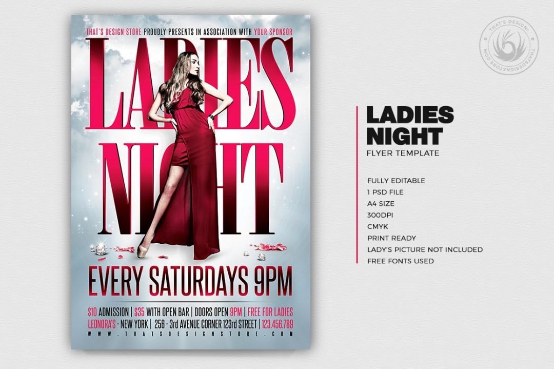 Ladies Night Flyer Poster Template V2