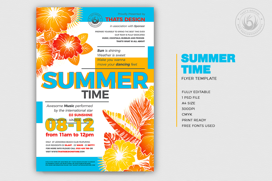 Summertime Flyer Template V2 for any beach party,festival, club or cocktails bar event. Pool or garden party with Dj set mixing chillout, lounge music for a tropical sunset, summer camp holidays
