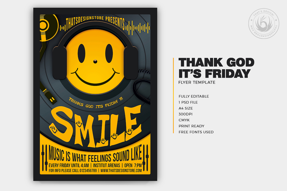 Thank God It's Friday Flyer Template PSD for photoshop