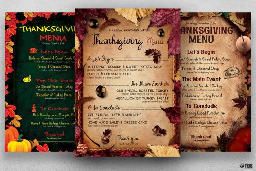 Thanksgiving Menu flyer templates Bundle