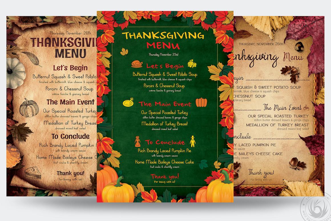 Thanksgiving Menu flyer templates Bundle