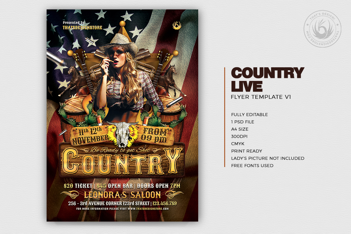 Country Live flyer template / Wanted flyers psd farwest Western template, rodeo bike cowboy in a coyote bar