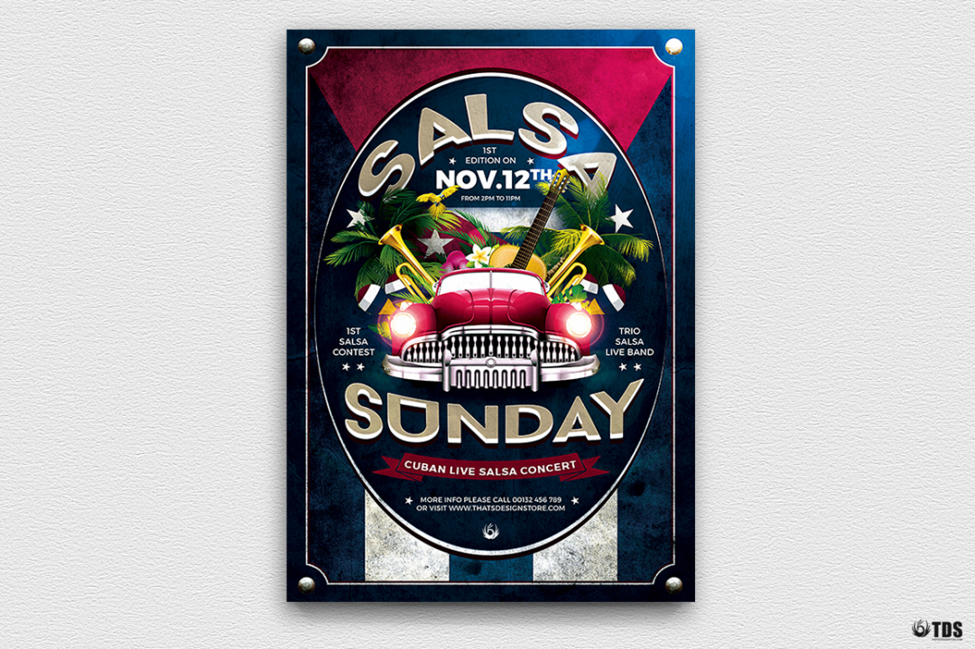 Cuban Live Salsa Flyer Template V2, Latin Salsa flyers psd