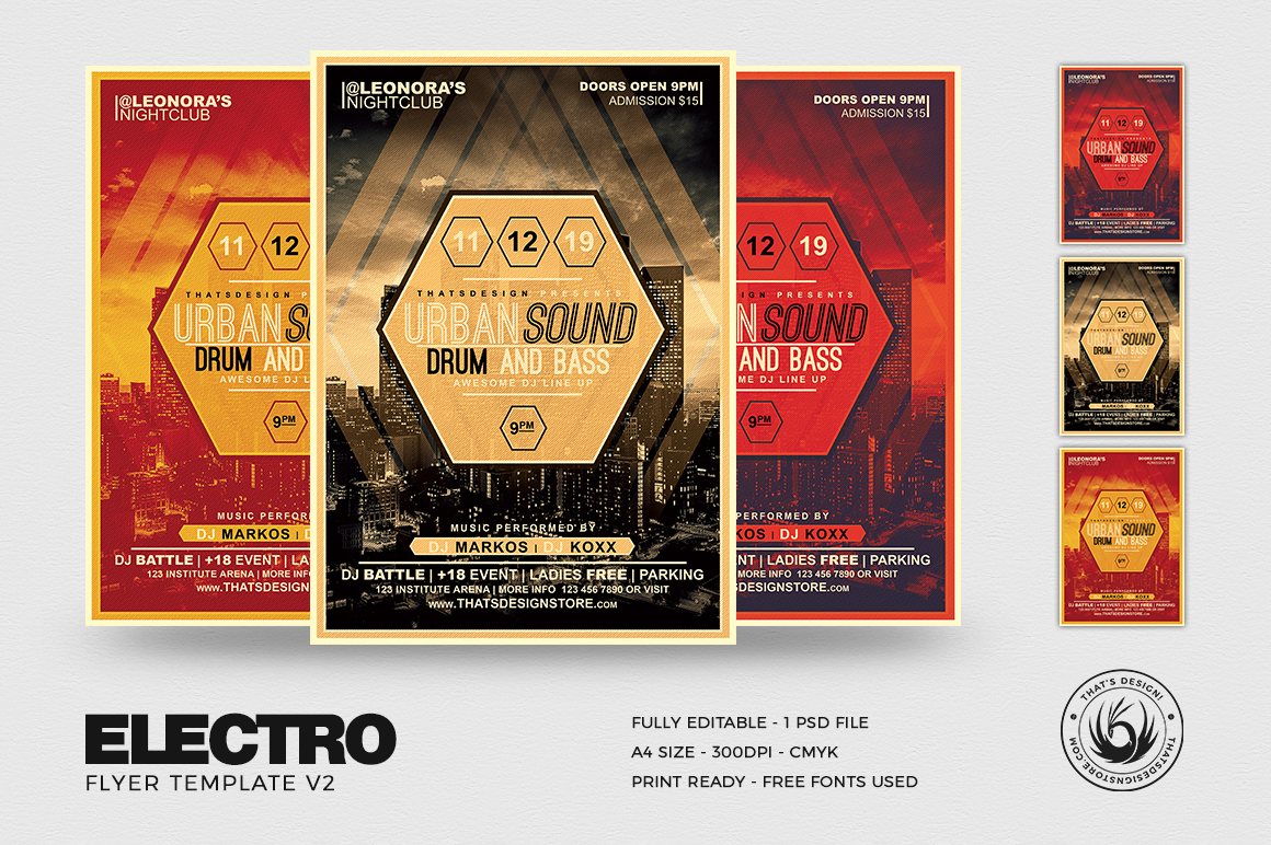 Electro Flyer Template Club PSD download V2