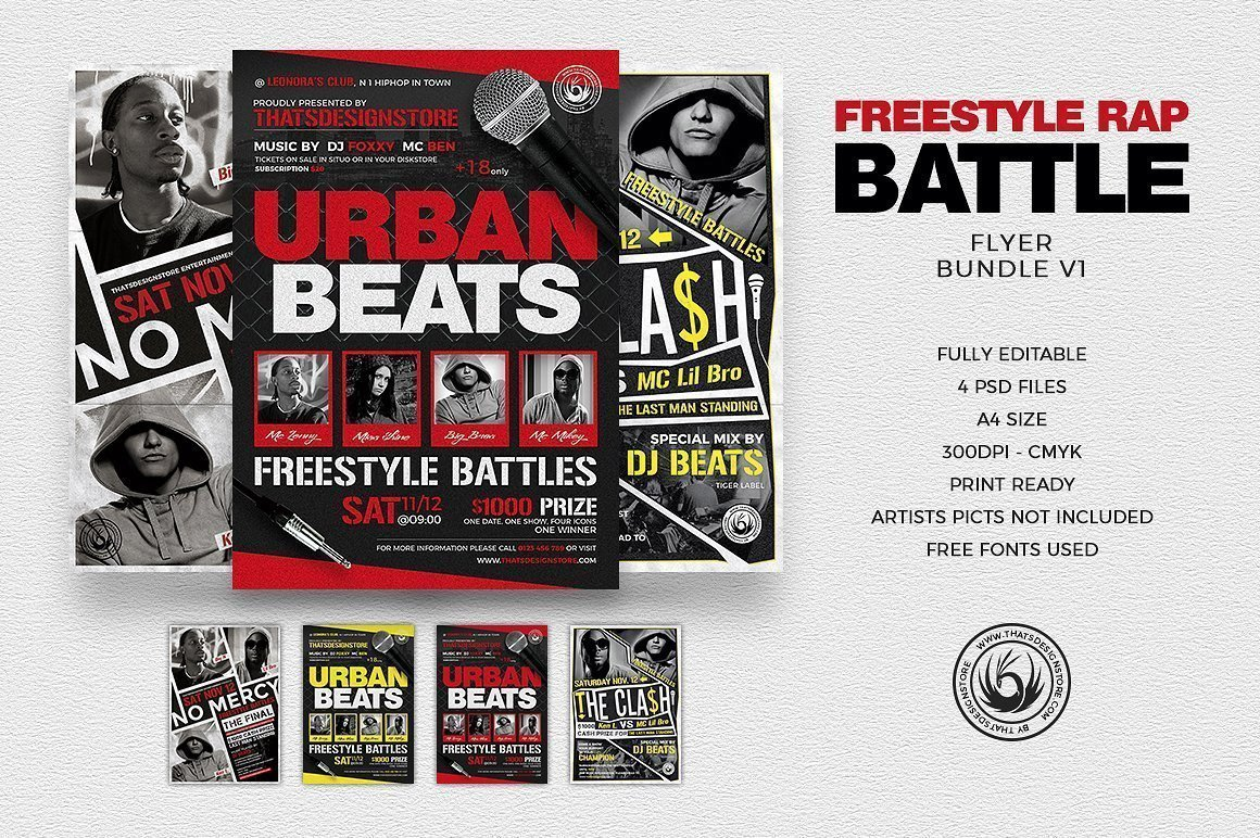 Freestyle Rap Battle Flyer Bundle V1