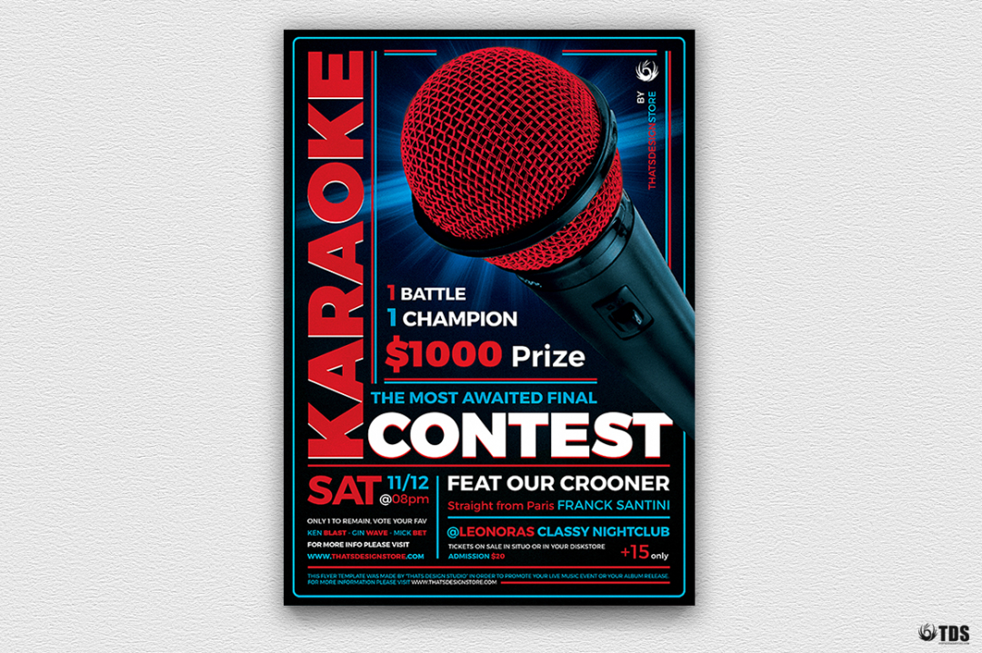 Karaoke Night Party PSD flyer templates, room, bar, contest, Open mic
