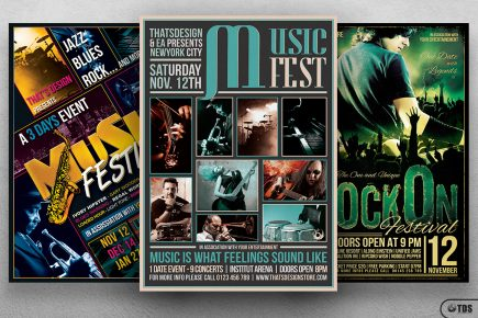 3 FLYERS PSD - Band Flyer Templates V3