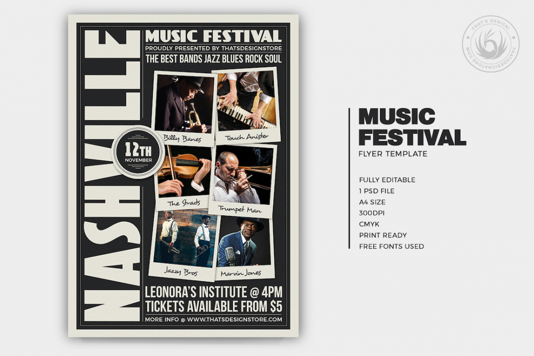 Music Festival Flyer Template vol.12 for an Indie Rock Band, Concert, Electro, Dubstep, Alternative, Pop, Urban music band event