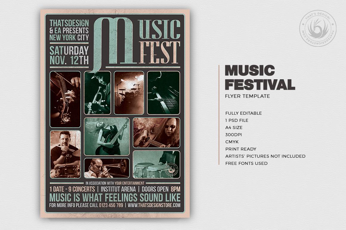 Music Festival Flyer Template psd download V2 for concert and live bands