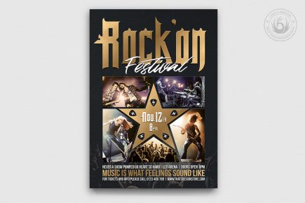 Rock Festival Flyer Template psd download V4