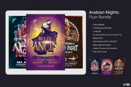 Oriental Night Flyers Templates for any Oriental party, Belly Dance show or courses, Shisha, Arabian Nights or Ramadan Event.