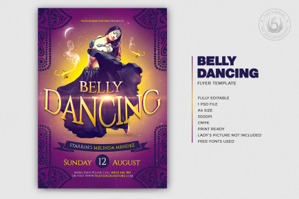 Belly Dancing Flyer Template for any Oriental party, Belly Dance show or courses, Shisha, Arabian Nights or Ramadan Event.