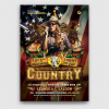 Country Live flyer template / farwest Western flyer template, rodeo bike cowboy in a coyote bar