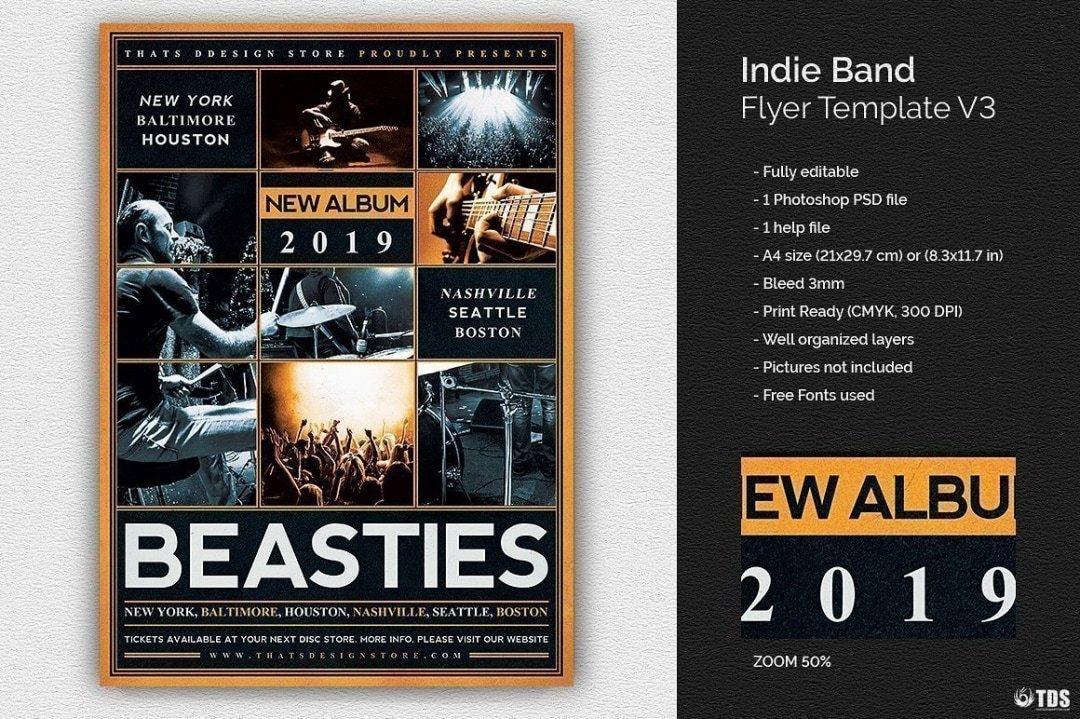 Indie Band Flyer Template Psd Download V3