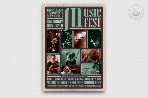 Music Festival Flyer Template psd download V2 for concert and live bands
