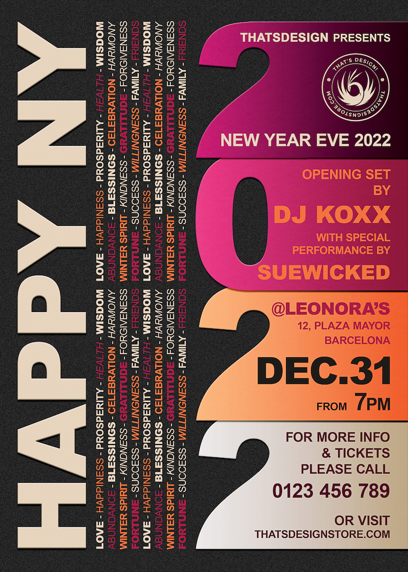 New Year Flyer Template PSD download design V3
