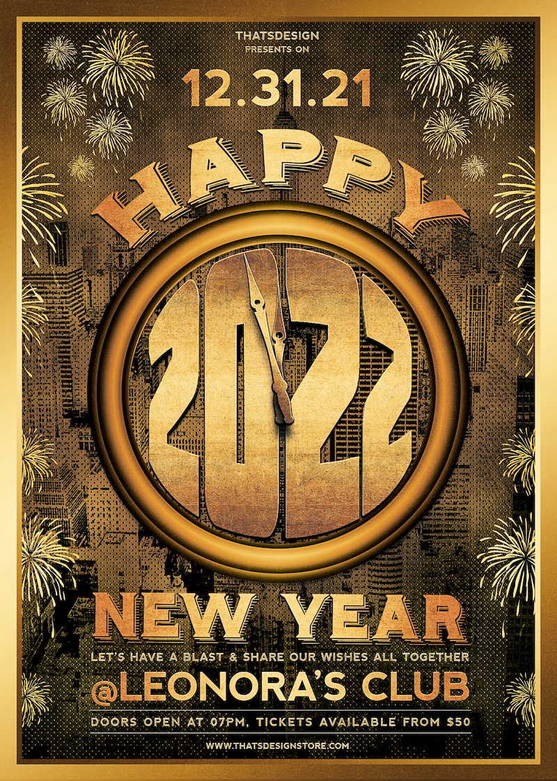 New Year Flyer Template PSD download design V4