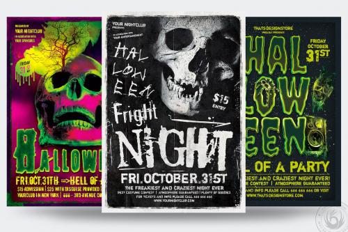 Halloween Flyer templates psd design Bundle V5
