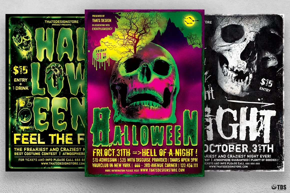 Halloween Flyer templates psd design Bundle V5