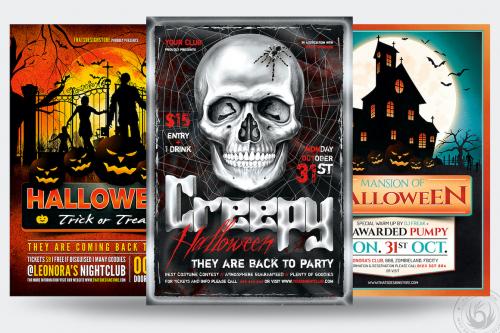 Halloween Flyer Templates psd design Bundle V7