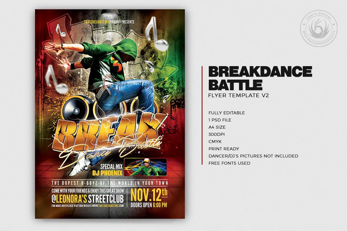 Break Dance Battle Flyer Template PSD download V2