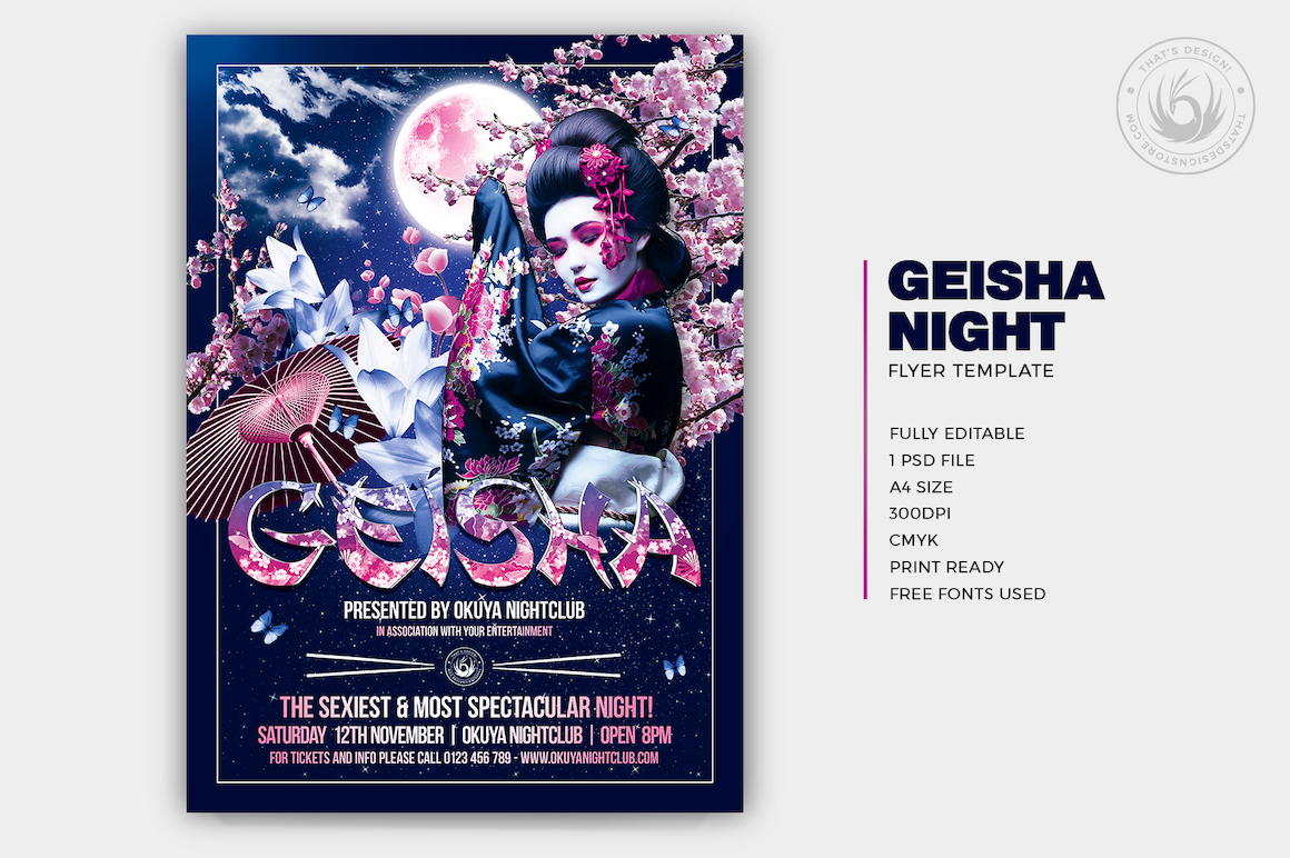 Geisha Party Flyer poster Template psd V2 for photoshop, asian flyers