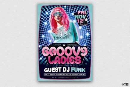 Groovy Ladies Disco Flyer Template, Saturday night fever, Remember, flower power, 70's, 80's, 90's and Revival Special Afro party