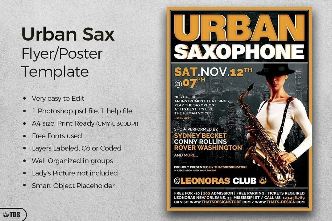 Urban Sax Flyer Template