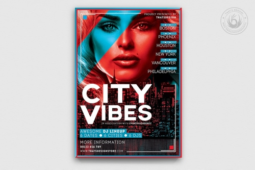 Download Electro Flyer Template PSD V3, editable and printable Clun and party posters for Dj