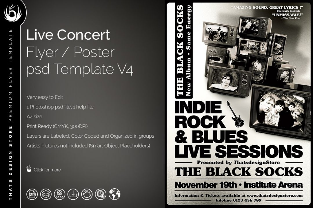 Live Concert Flyer Psd Poster Template, band posters, Indie pop rock festival psd templates
