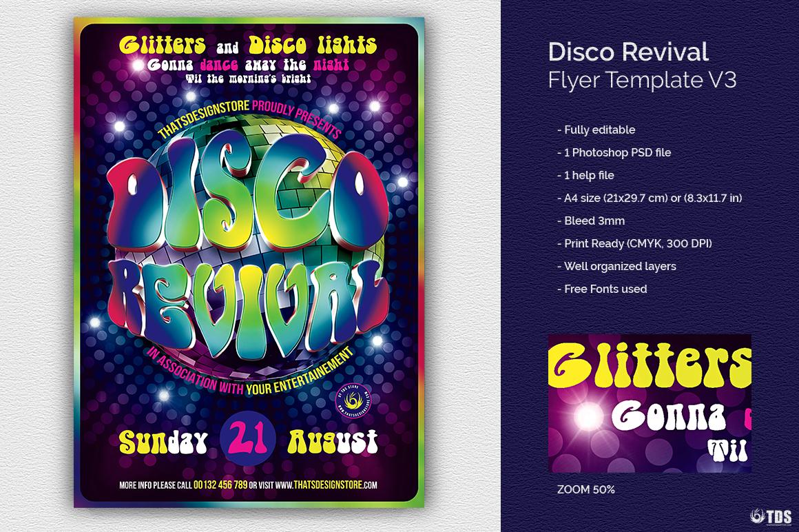 Disco Revival Flyer Template Psd Design for photoshop V 3