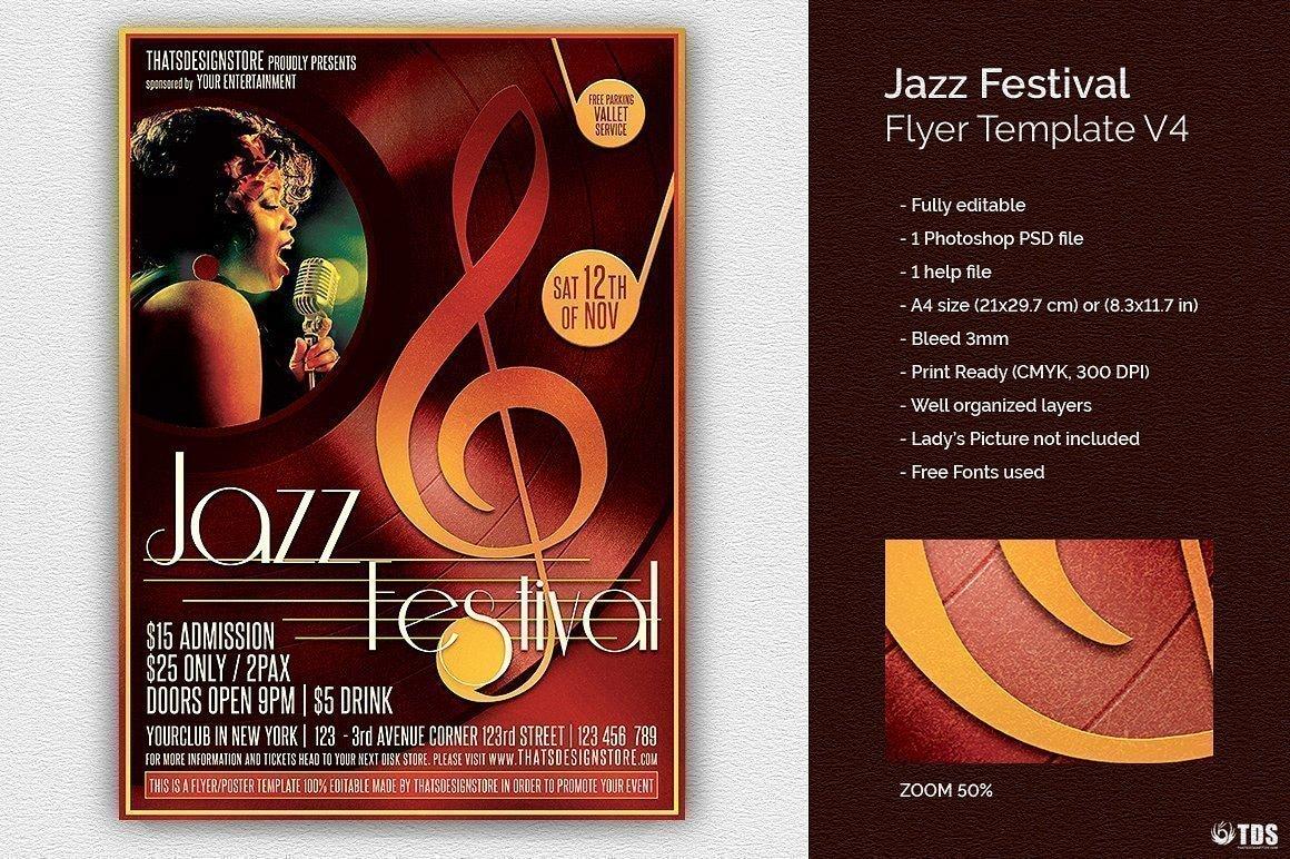 jazz festival flyer bundle v2 free posters design for. Black Bedroom Furniture Sets. Home Design Ideas